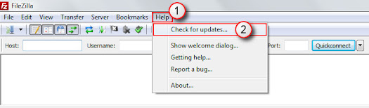 Check for updates on the Help menu of FileZilla client