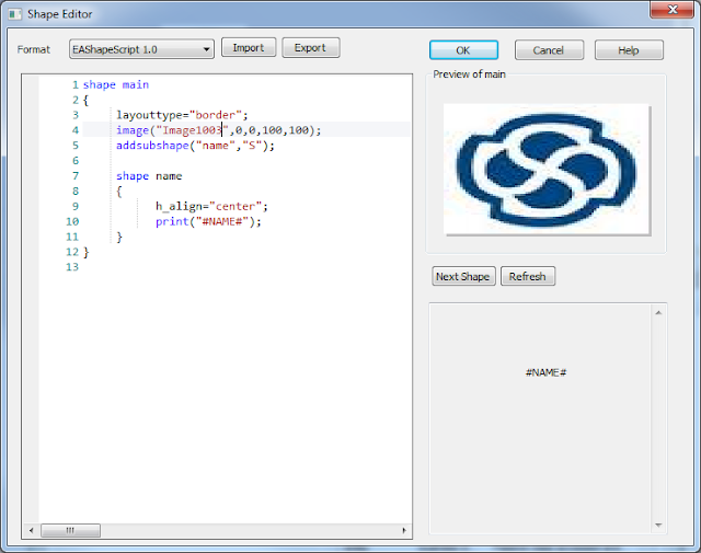 Shape Script Editor - okno programu EA