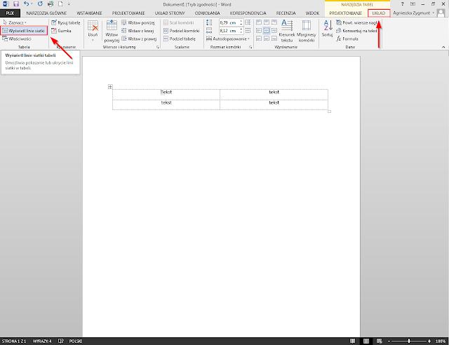 Włączenie lub wyłączenie granic tabeli w Word 2010 / 2013