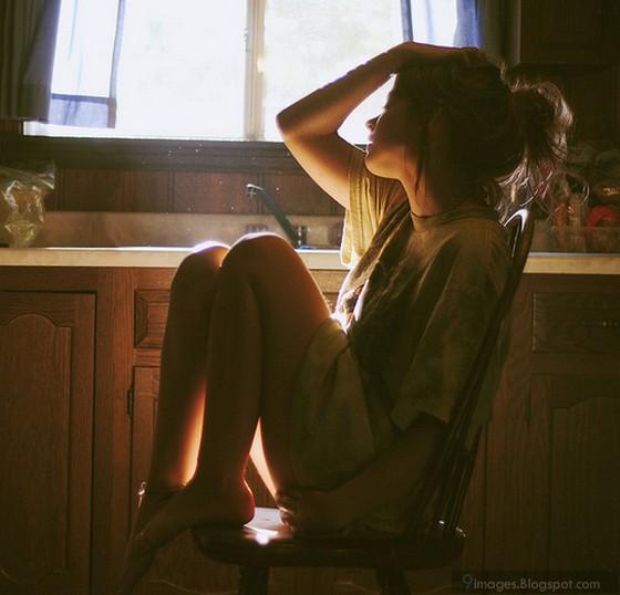 Sad, girl, crying, alone, on, chair