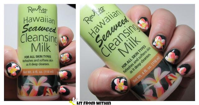 Reviva Labs Hawaiian Seaweed Cleansing Milk-inspired nailart
