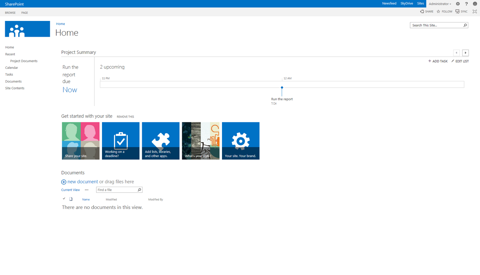 SharePoint 2013 Preview - Project Site template