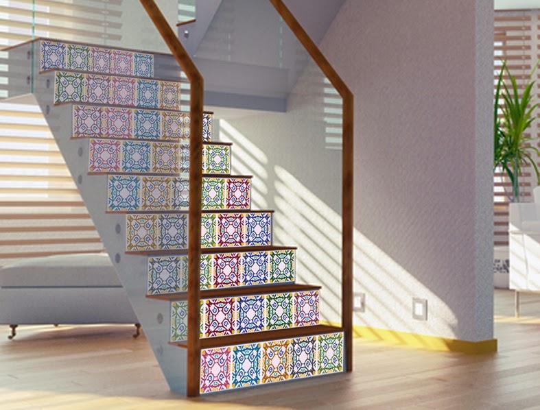 Decorar decorar escaleras con vinilos adhesivos - Decorar paredes escaleras ...