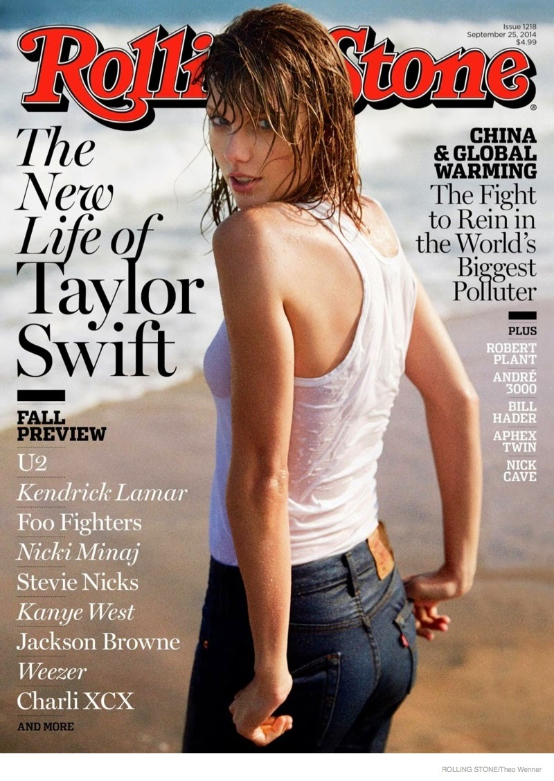 Taylor Swift poses in a wet t-shirt for Rolling Stone Magazine September 2014