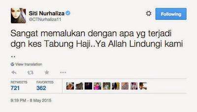 Tabung Haji Sangat Memalukan Kata Siti Nurhaliza