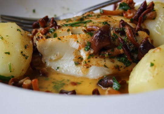 Wishes Video Recipes: Pan-Roasted Halibut with Clamshell Mushrooms ...