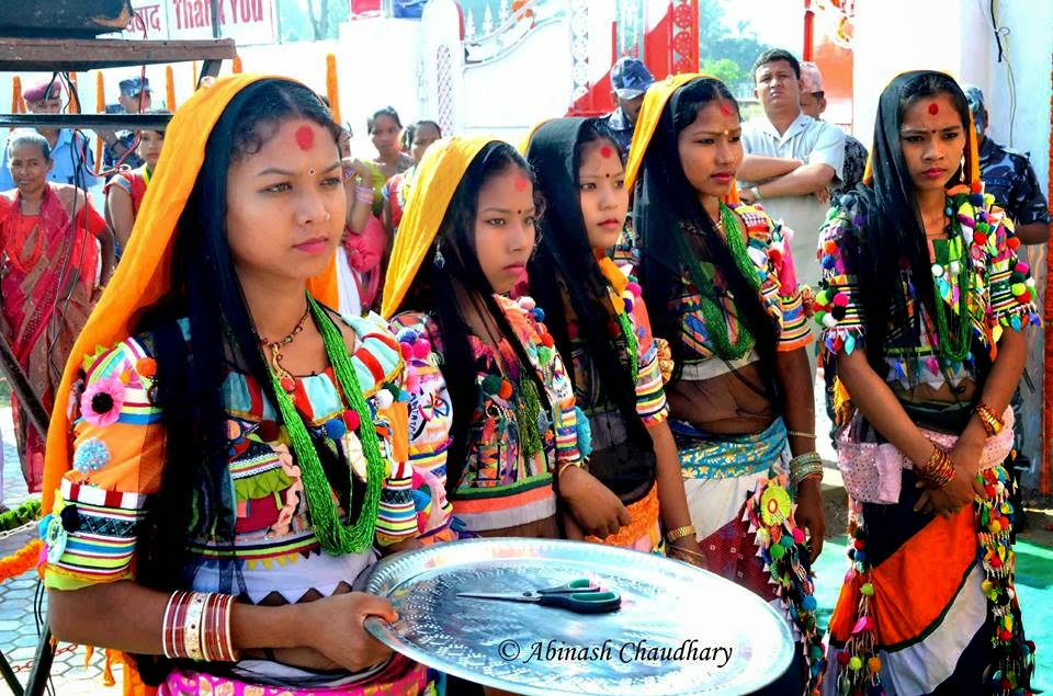 Rana Tharu girls in cultural attire, Farwest Nepal