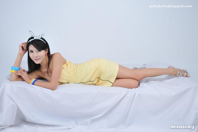 1 Cha Sun Hwa-Yellow Mini Dress-very cute asian girl-girlcute4u.blogspot.com