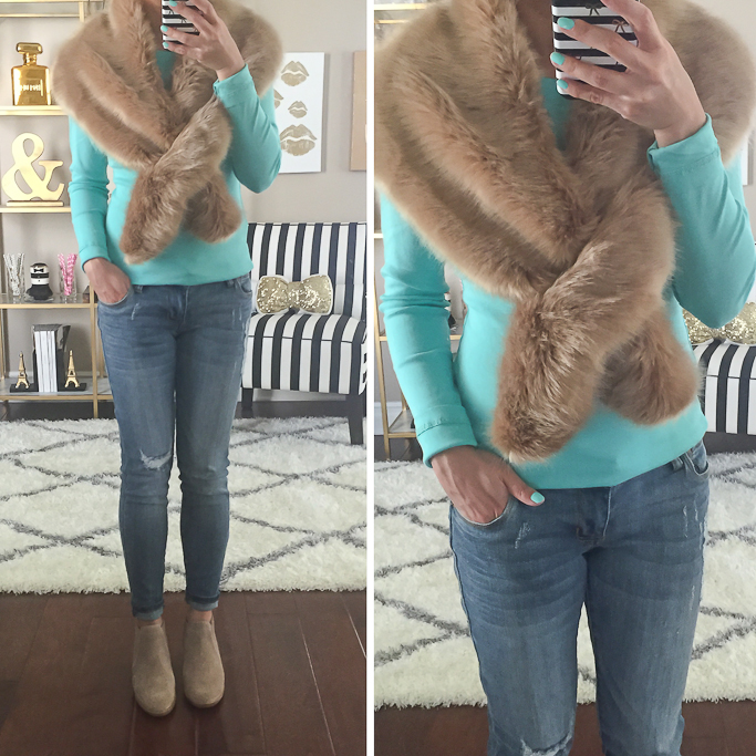 BP faux fur stole Caslon long sleeve crewneck cotton mint tee, Dolce Vita Kadie Bootie Joey cropped boyfriend jeans