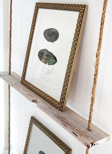 hanging rope shelf for art