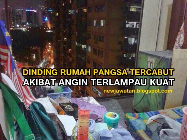 Dinding Flat di Jalan Loke Yew Tercabut Gara Gara Ribut 5 Gambar