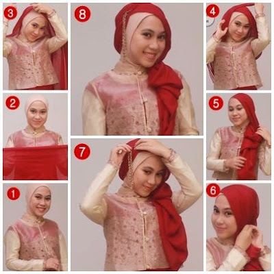 tutorial hijab pesta simple