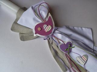 λαμπάδα βάπτισης κοριτσάκι φούξια μωβ λευκό