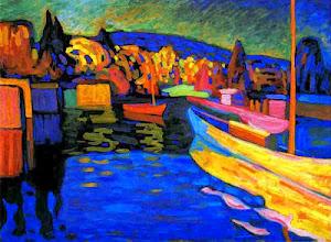 V. Kandinsky, Φθινοπωρινό τοπίο με βάρκες. 1908. Συλλογή Merzbacher