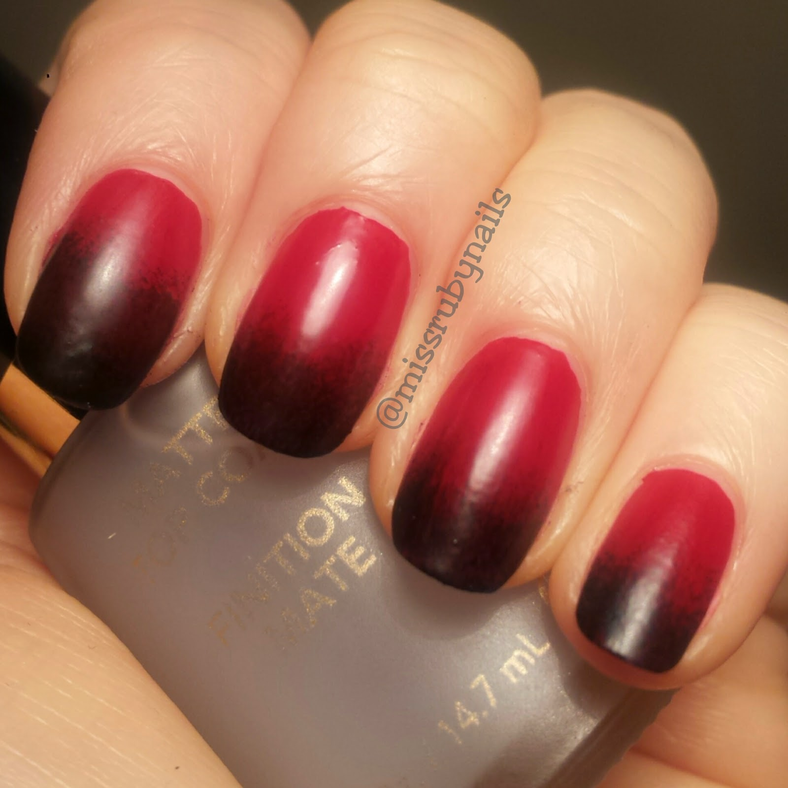 Black And Red Ombre Nails