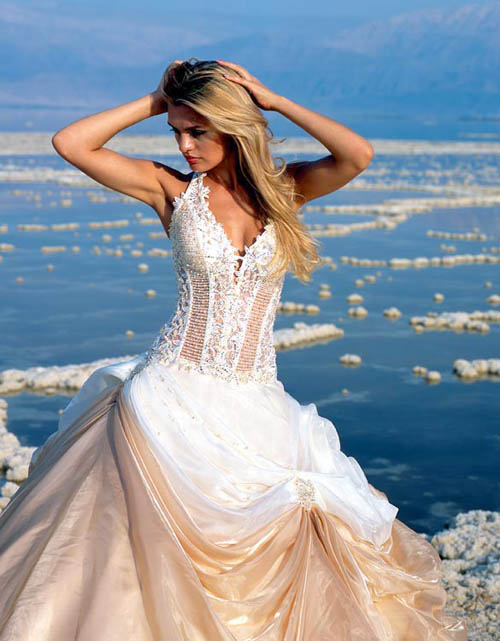 Bride in dream travelling with your wedding dress for Green beach wedding dresses