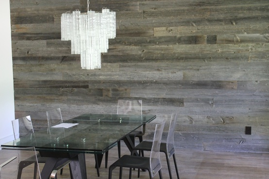 This Modern Dining Room Features A Barn Wood Accent Wall Reclaimed Like Can Be Purchased From Urban Woods Company
