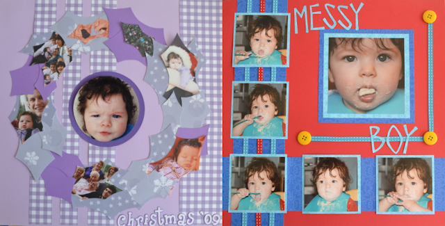 First Christmas and Messy Boy Scrapbook Pages