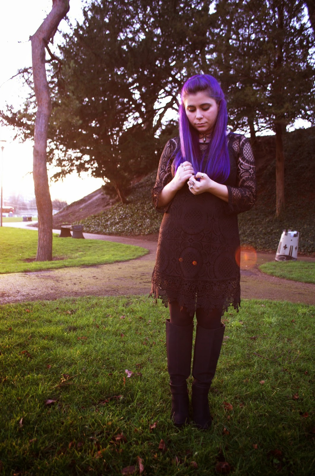 Grunge style with faux fur and crochet. Purple Hair.