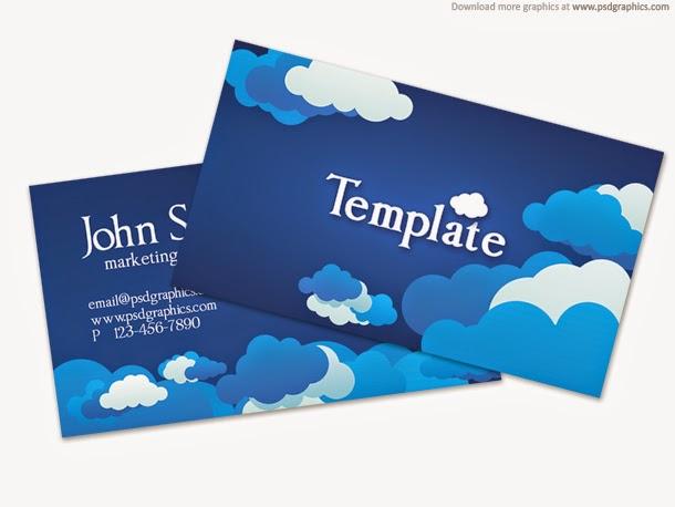 Blue Cloudy Sky Business Card Template PSD