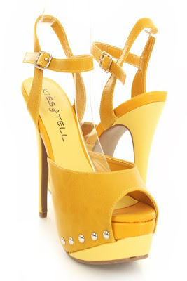 Mustard Faux Leather Colorblock Studded Peep Toe Platform Heels