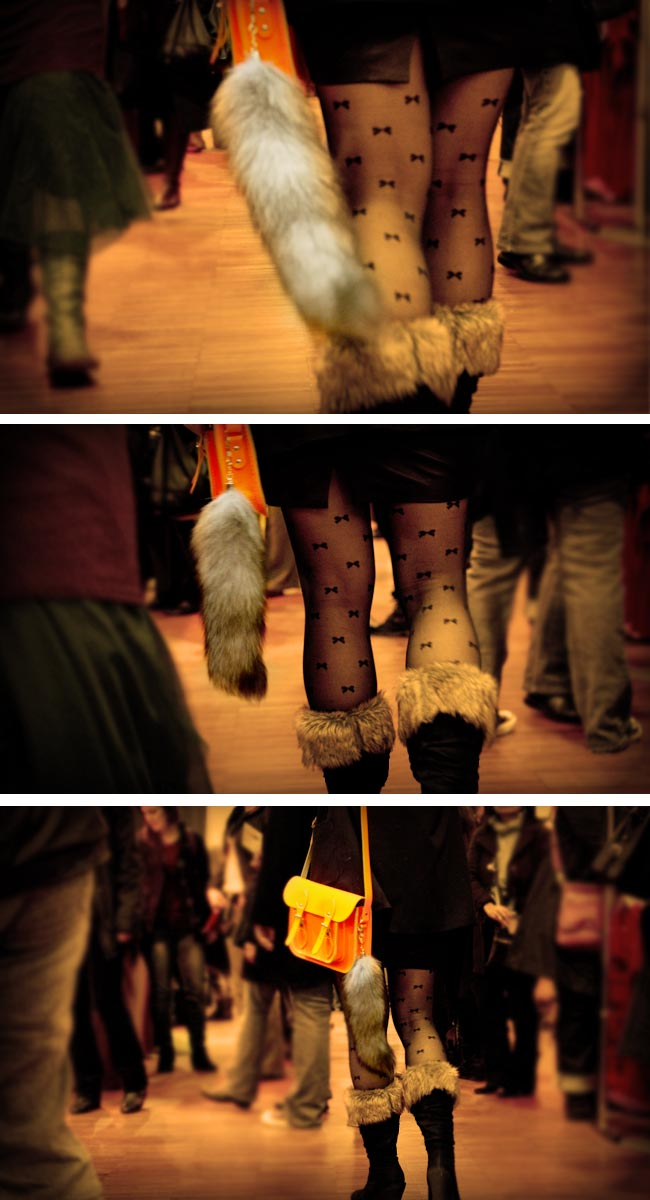 Vintage Fashion, Thrift Fashion, Street Style, Style, Cambridge Satchel Company Fluoro in orange, Okkabi leather skirt, Faux fox tail, H&M boyfriend Blazer, Betsy Johnson shear bow tights, Make it Handmade revolution