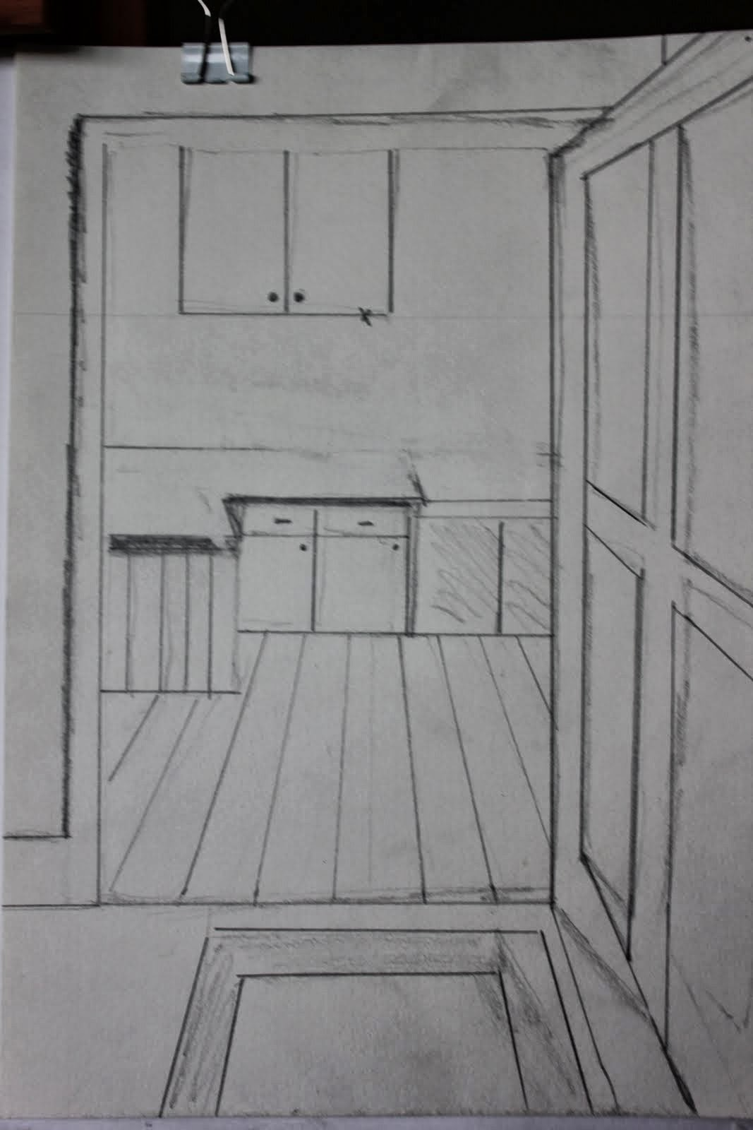 Sue f drawing learning log log p83 perspective for Living room 1 point perspective