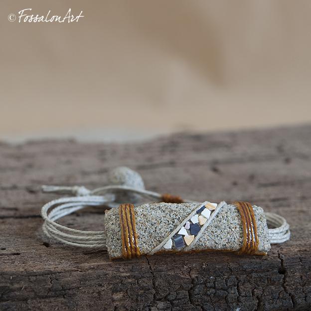 Bracciale in corda, sabbia e frammenti di conchiglie
