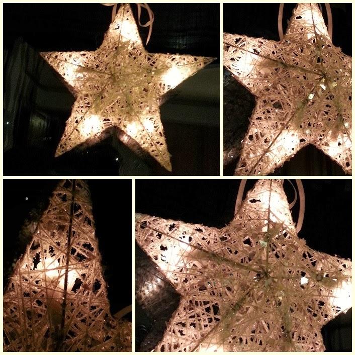 stor julestjerne med lys