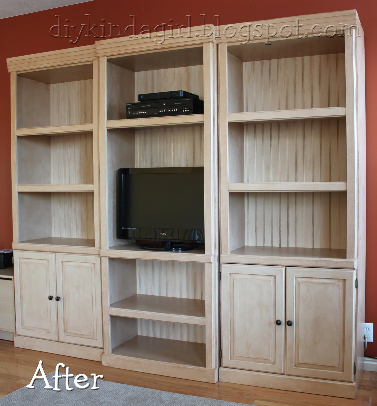 Diy kinda girl how to paint laminate spray stain cabinets el.