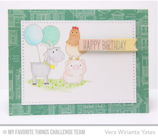 Farm Animals Birthday Card by Vera Wirianta Yates featuring the Birdie Brown The Whole Herd stamp set and Cross-Stitch Rectangle STAX Die-namics #mftstamps