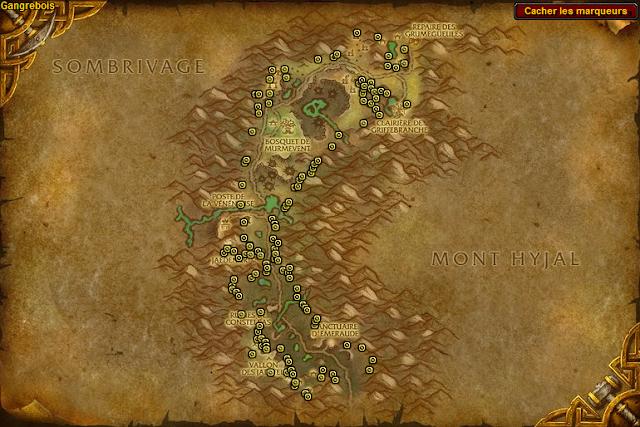 Spots de minerais d'or