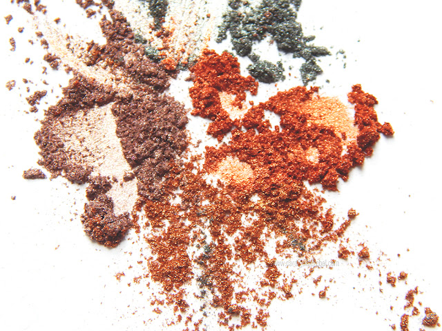 glitter pigments scattered on a white background