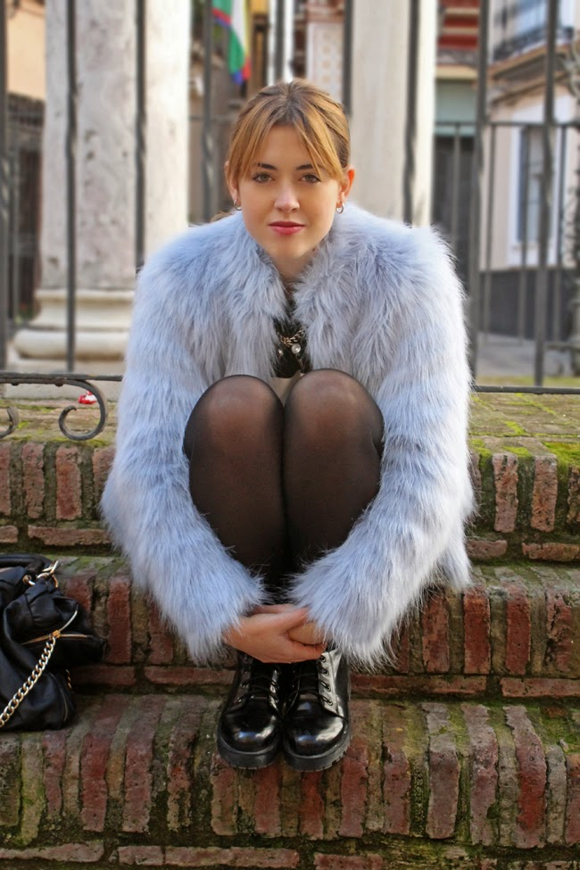 Blue fur jacket