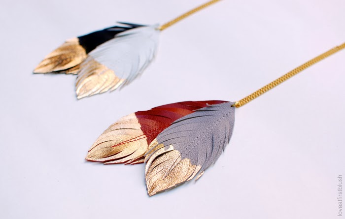 leather feather pendants loveatfirstblush