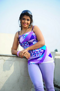 Aswi Tamil Side Actress in a Beautiful Tank Top and Light Blue Three Fourth Leggings Spicy Pics