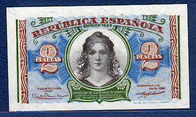Spain money currency 2 Pesetas allegory woman wearing a Phrygian cap