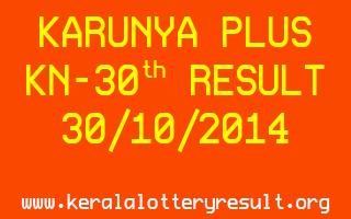 KARUNYA PLUS Lottery KN-30 Result 30-10-2014