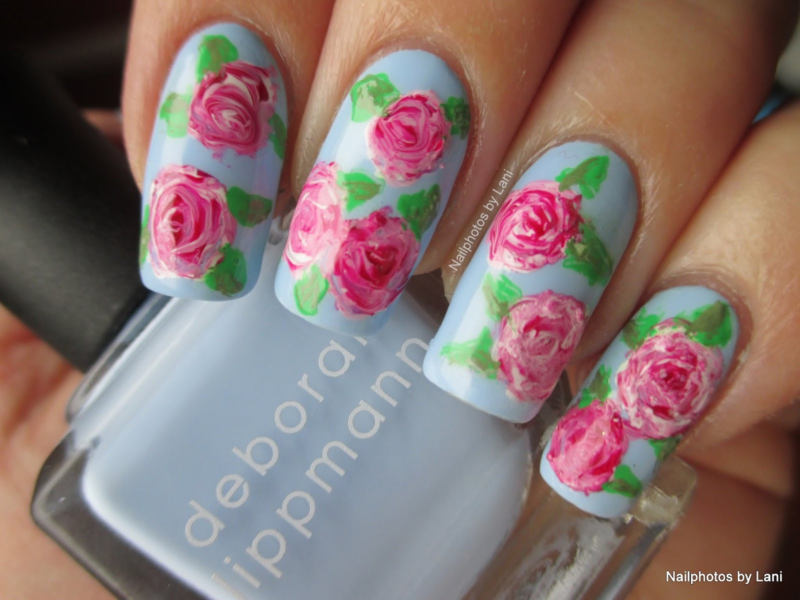 Nailphotos by Lani: Vintage Flowers - freehand nail art - inspired ...