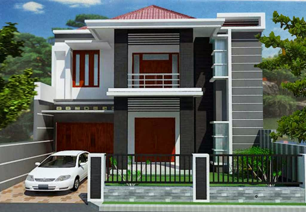 Minimalist-Home-Design-2-Floor-With-Garden-Garage-and-Luxury-Car