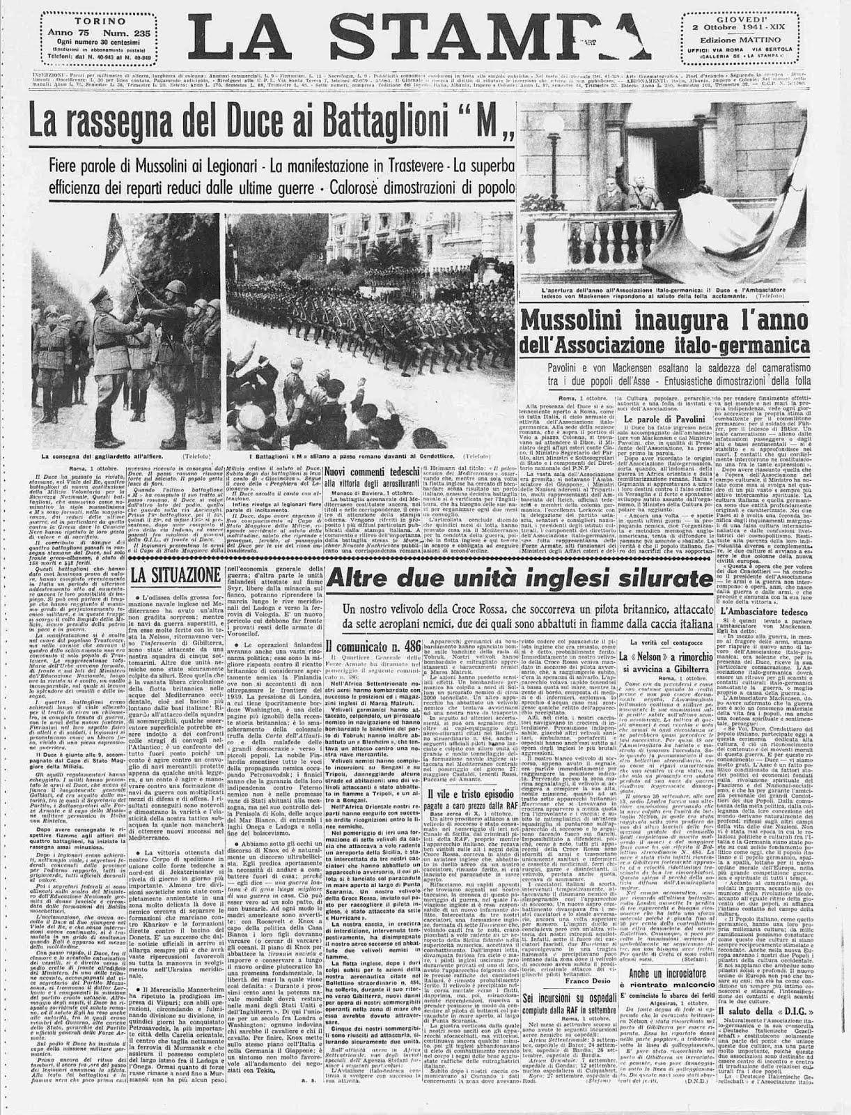 L A STAMPA 2 OTTOBRE 1941