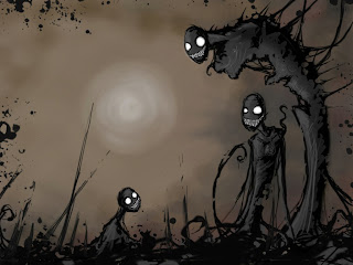Smiling Zombies Dark Gothic Wallpaper