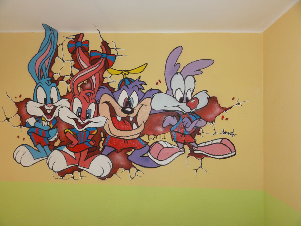 Berok Graffiti profesional: Mural Barça tiny toons bebés del Barça