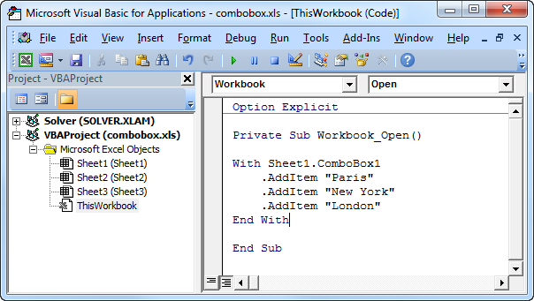 Excel vba combobox как заполнить - 5