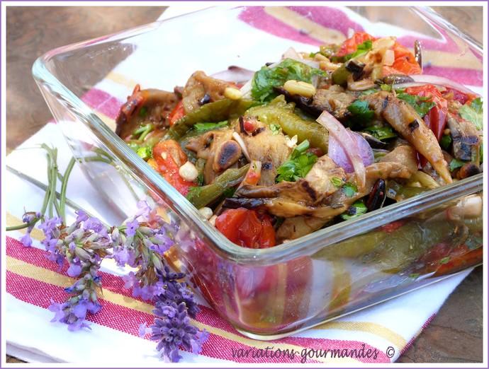 Variations gourmandes salade color e aux l gumes d 39 t poivrons tomates cerises aubergines - Salade d ete composee ...