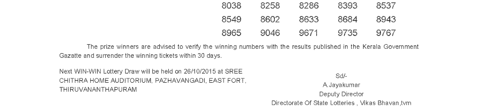 WIN WIN Lottery W 330 Result 19-10-2015