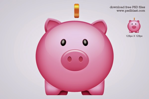 Glossy Piggy Bank Icon PSD