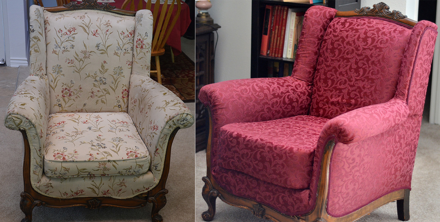How to Reupholster an Antique Wingback Armchair - The Adventures Of Mrs. Mayfield: How To Reupholster An Antique