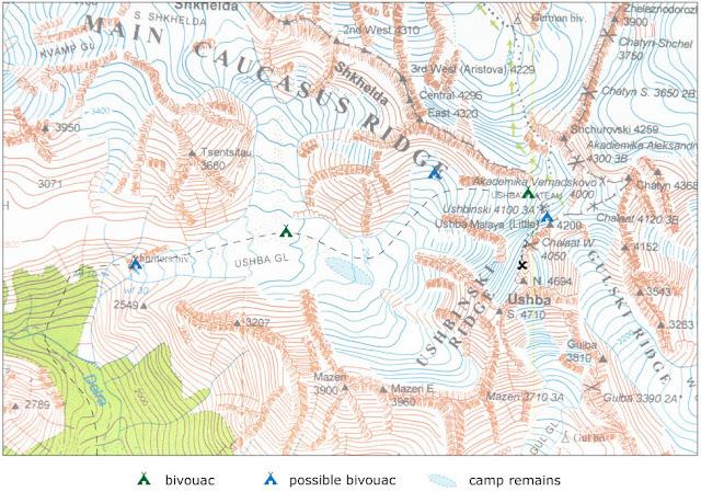 Mapa Uszby - miejsca biwakowe