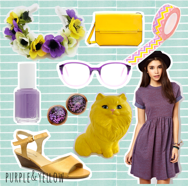 collage of purple and yellow items, floral crown, bag, washi tape, glasses, dress, nail varnish, cat figurine, sandals and earrings